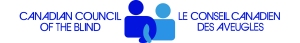 Logo for Canadian Council of the Blind. On the left, CCB written in blue text. In the center, a dark blue and light blue human silouhette linking arms. On the right, CCB name in French in blue text.