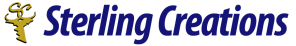Sterling Creations Logo. On the right, a yellow key with the letters S and C intertwined attached to the key from the top. On the right, the words Sterling Creations in a blue text.
